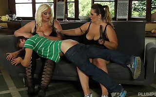 BBW Mona enjoys wild threesome with her BBW friend Sally and a guy