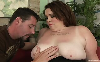 BBW enjoys hard sex with her horny boyfriend after a blowjob