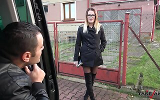Stunning Samantha with glasses picked up and fucked by a fat dick