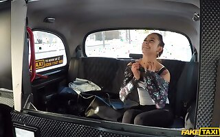 Freya Dee ramming a fat driver's penis in his taxi cab like never before