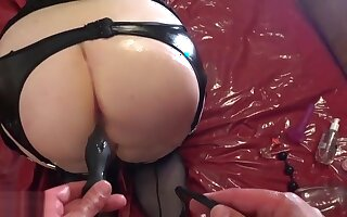 Pretty blonde BBW wife opens her asshole for toys and hard dirty anal fuck