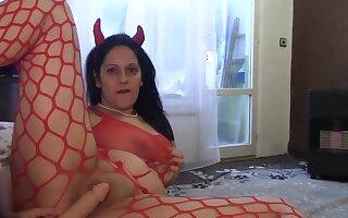 kinky mom in red fishnet