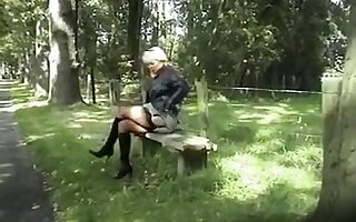 Exotic Amateur clip with Grannies, Outdoor scenes