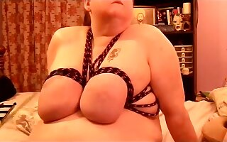 I spanked and tied up massive saggy tits of my mature SSBBW wife