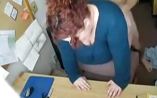 big beautiful woman redhead drilled on the desk