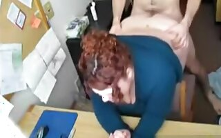 Pounding large gazoo older in her office