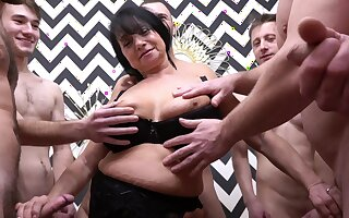 Second-rate homemade gangbang with weasel words stimulated German mature Hana
