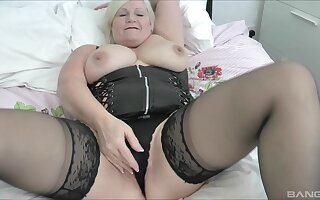 Chubby mature Lacey Starr tease added to gives a sloppy blowjob